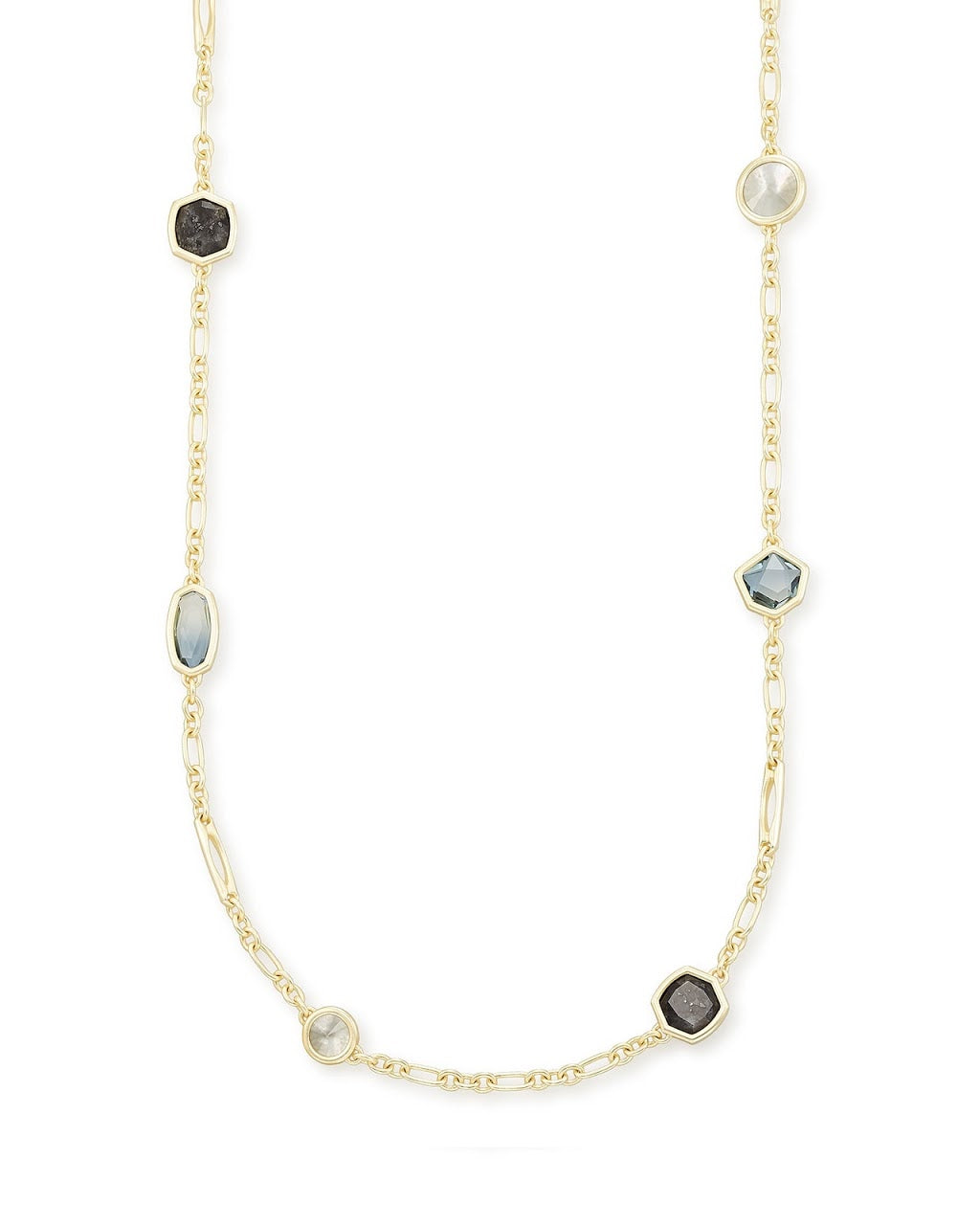 Natalia Gold Long Necklace-Steel Gray Mix