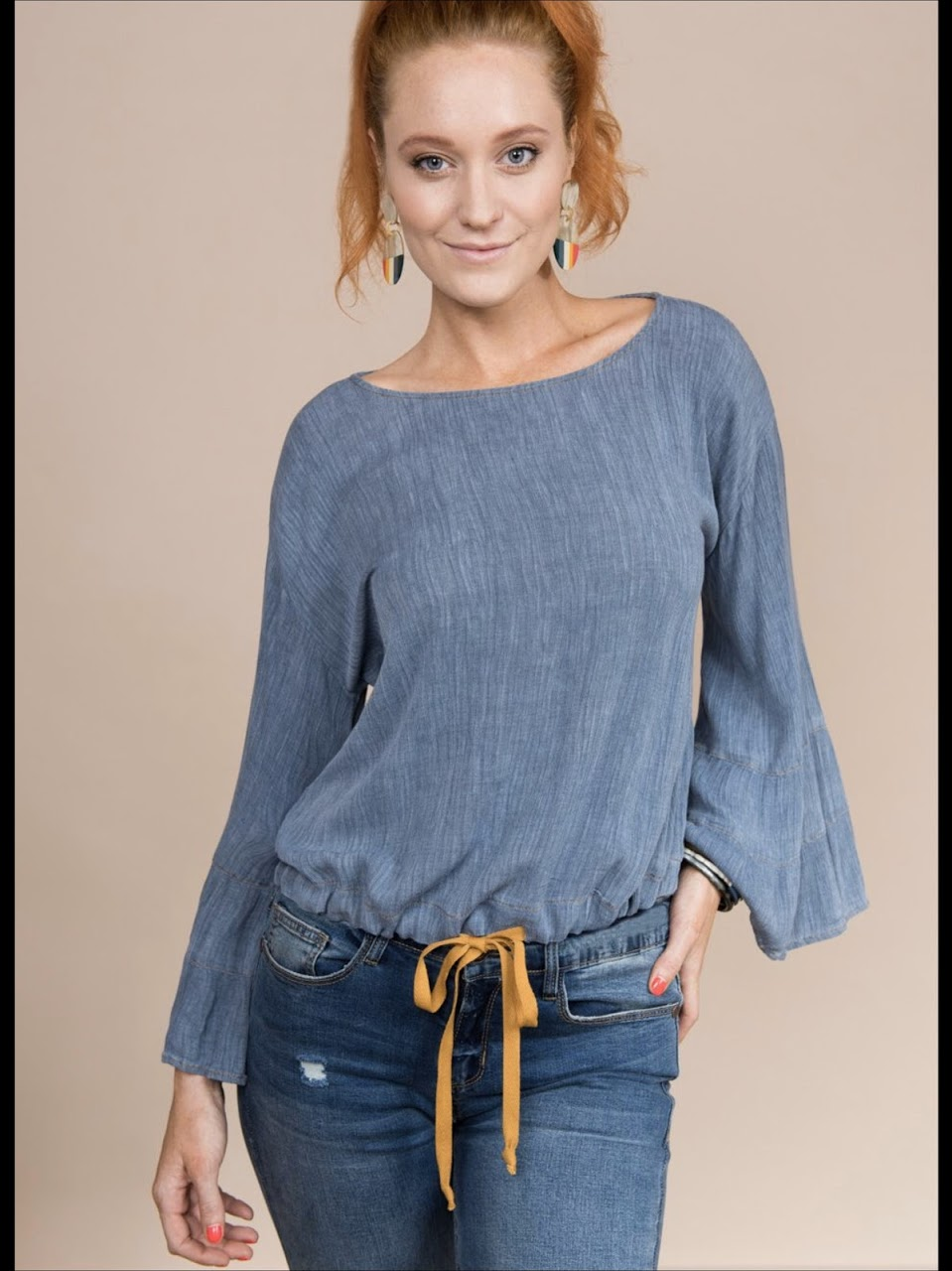 Chambray Long Sleeve Top