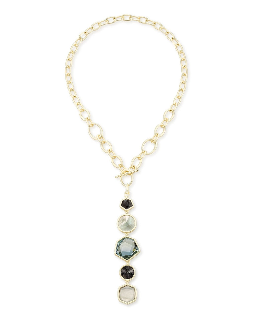 Natalia Gold Y Necklace-Steel Gray Mix