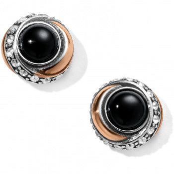 Neptune's Rings Black Button Earrings