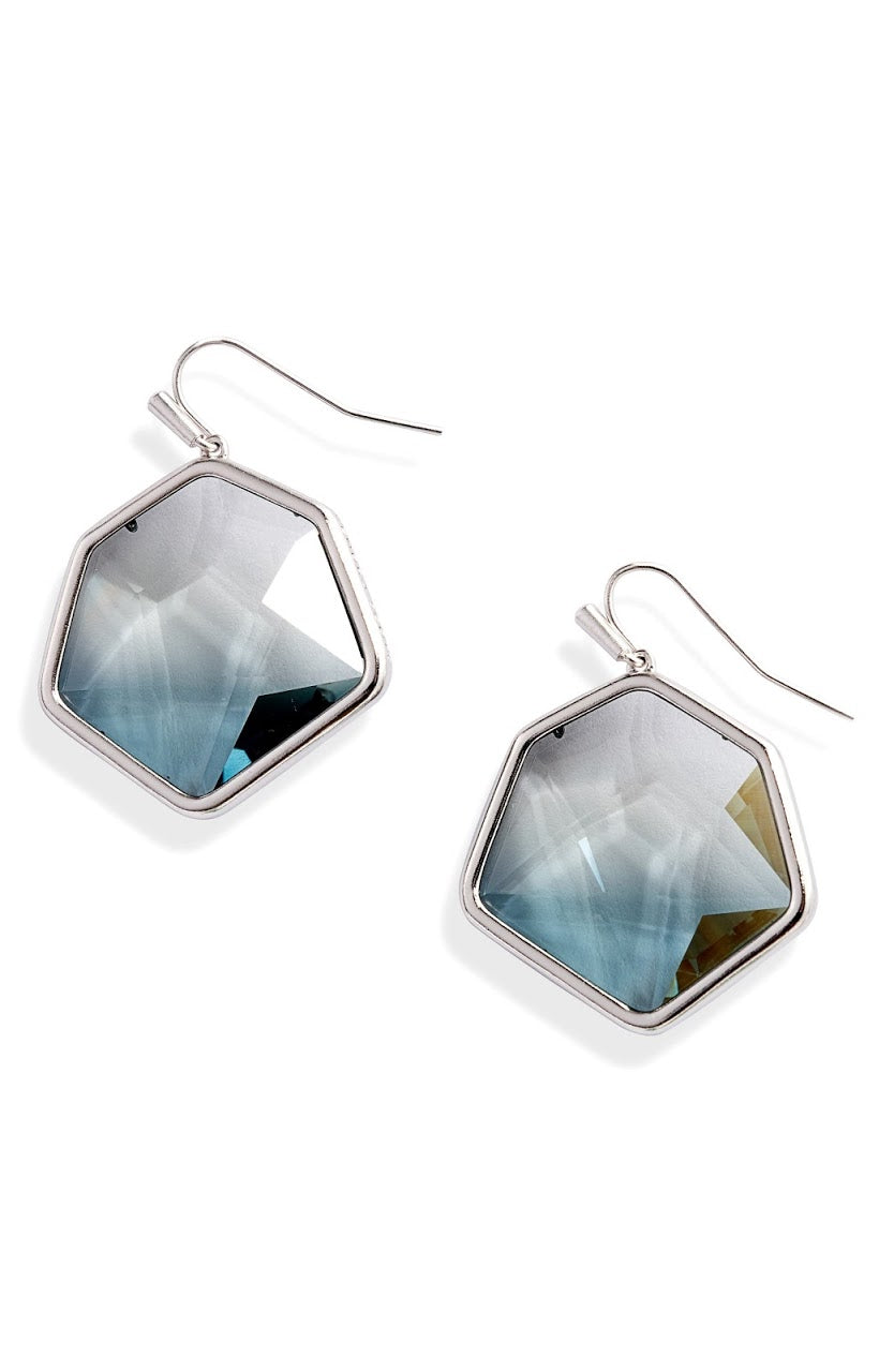 Vanessa Silver Drop Earrings-Charcoal Gray Ombre