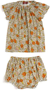 Milkbarn Orange Floral Dress & Bloomer Set