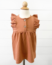 Load image into Gallery viewer, Peach Ruffle Sleeve Smock Dress