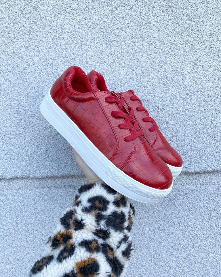 Rossi Red Snake-print Sneakers