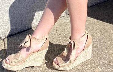 Micro Suede Tan Sprout Wedges