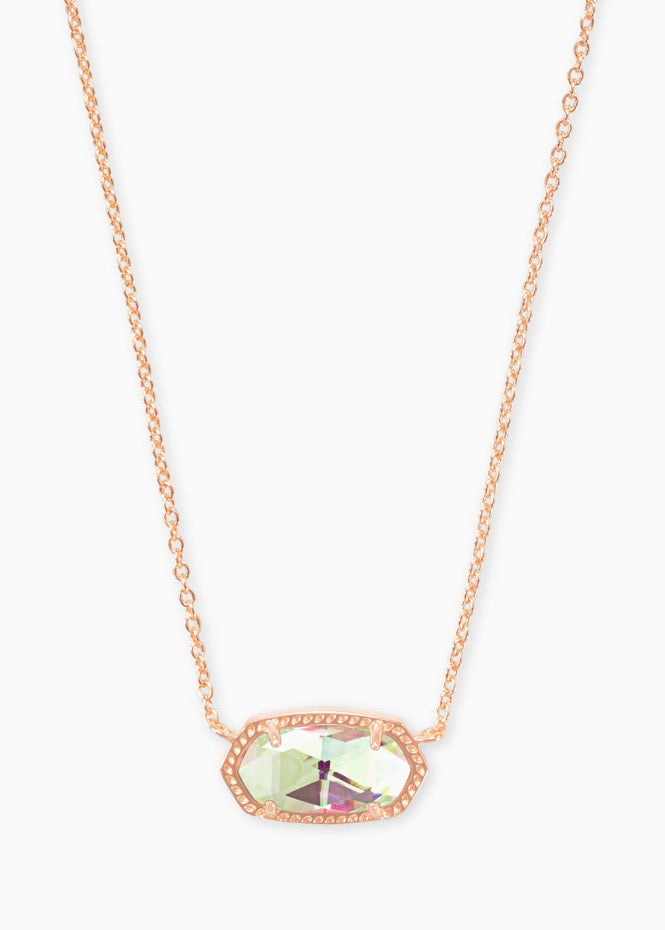 Elisa Rose Gold Necklace-Dichroic Glass
