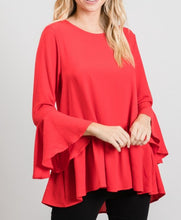 Load image into Gallery viewer, Bell Sleeve Peplum Top