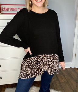 Leopard Contrast Bottom Tunic