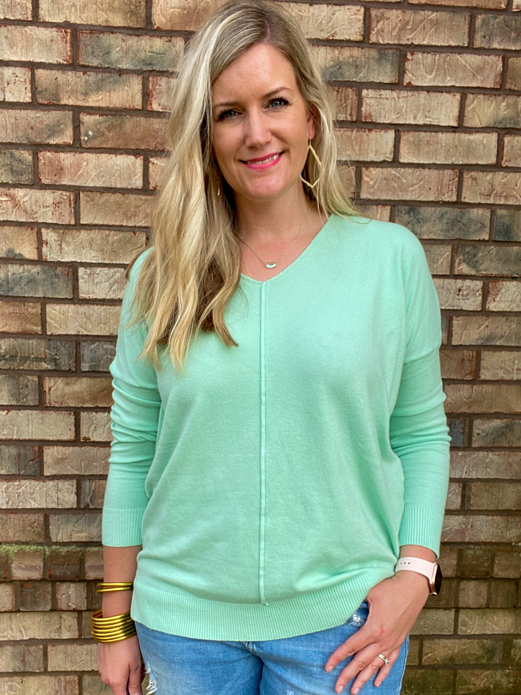 Plus Soft High-Low Mint Tunic Sweater