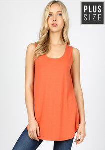 Plus Relxed Fit Tank Top-Ash Copper