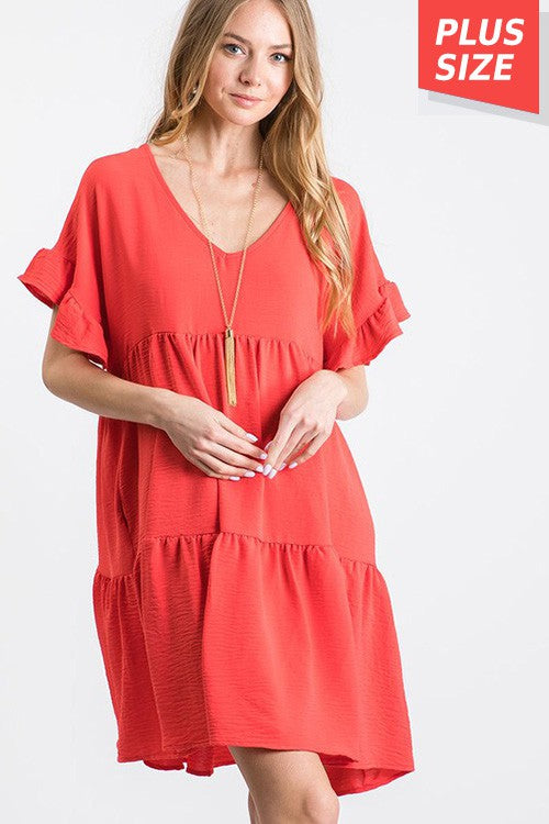 V-Neck Ruffle Dress-Plus