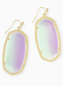 Danielle Gold Earrings-Dichroic Glass