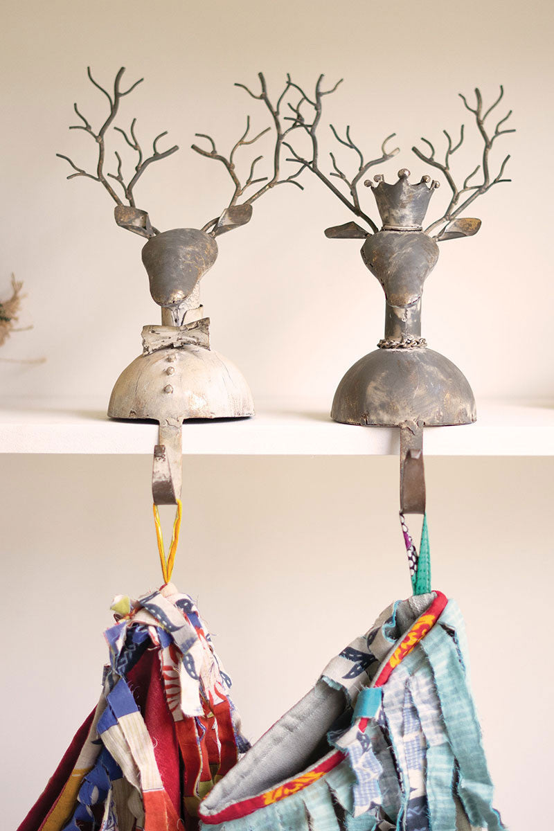 Reindeer Metal Stocking Holder Set