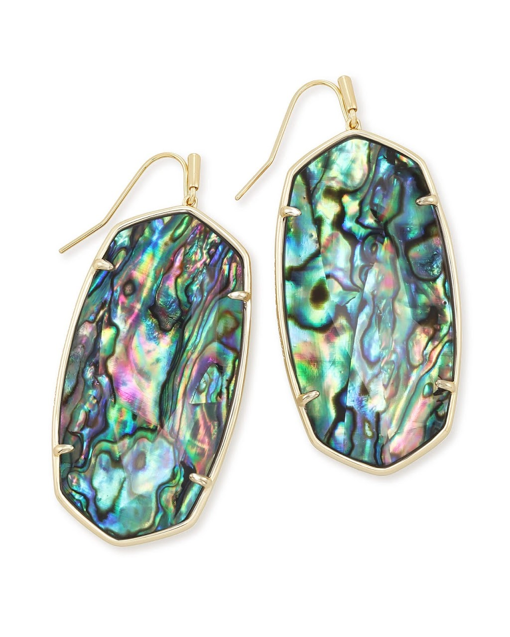 Faceted Gold Danielle Earrings-Abalone