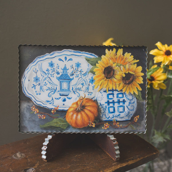 Sunflowers in a Blue & White Vase Gallery