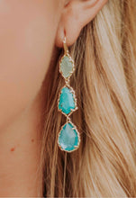 Load image into Gallery viewer, Gwenyth Gold Linear Earrings-Aqua Mix
