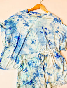 Tie Dye Dolman Top Short Set