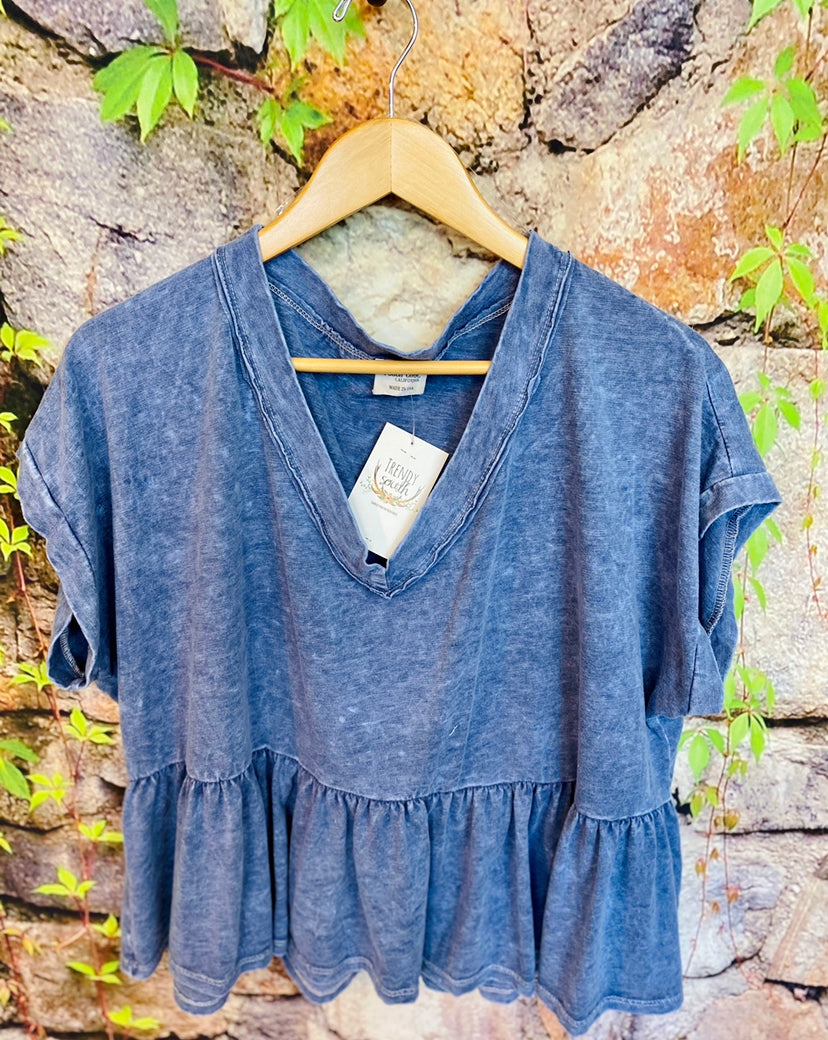 Denim Dye Knit Top