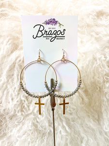 Beaded Cross Hoop Earrings