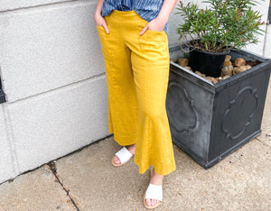 Yellow Cropped Flare Pant