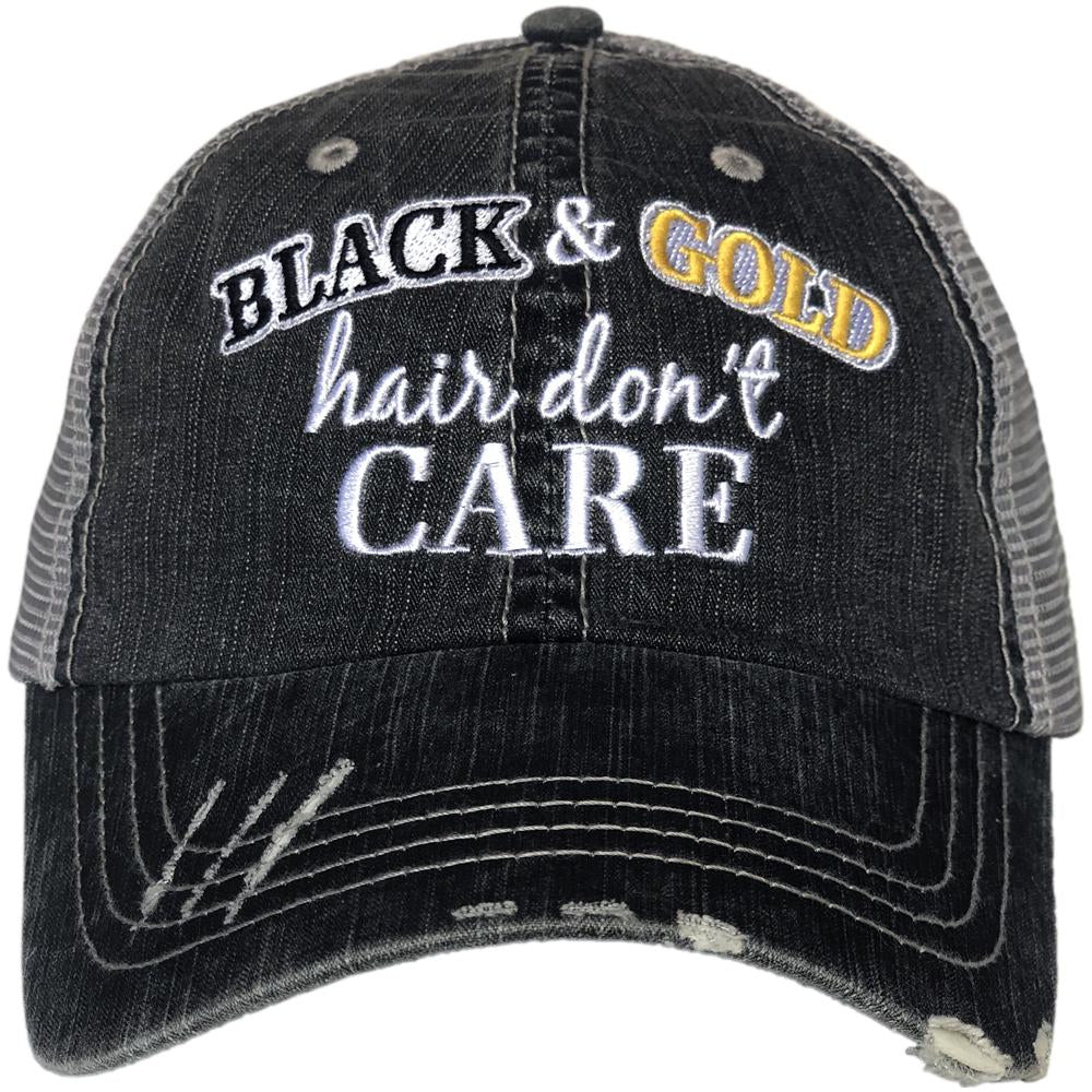 Black & Gold Hair Don't Care Hat