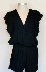 Short Romper With Ruffle Frayed Hem