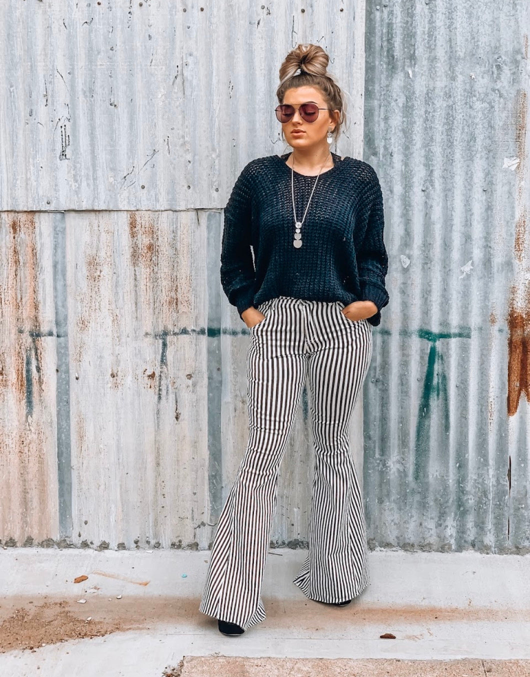 Black and White Flare Bell Bottoms