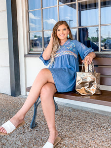Denim Embroidered Dress With Ruffles