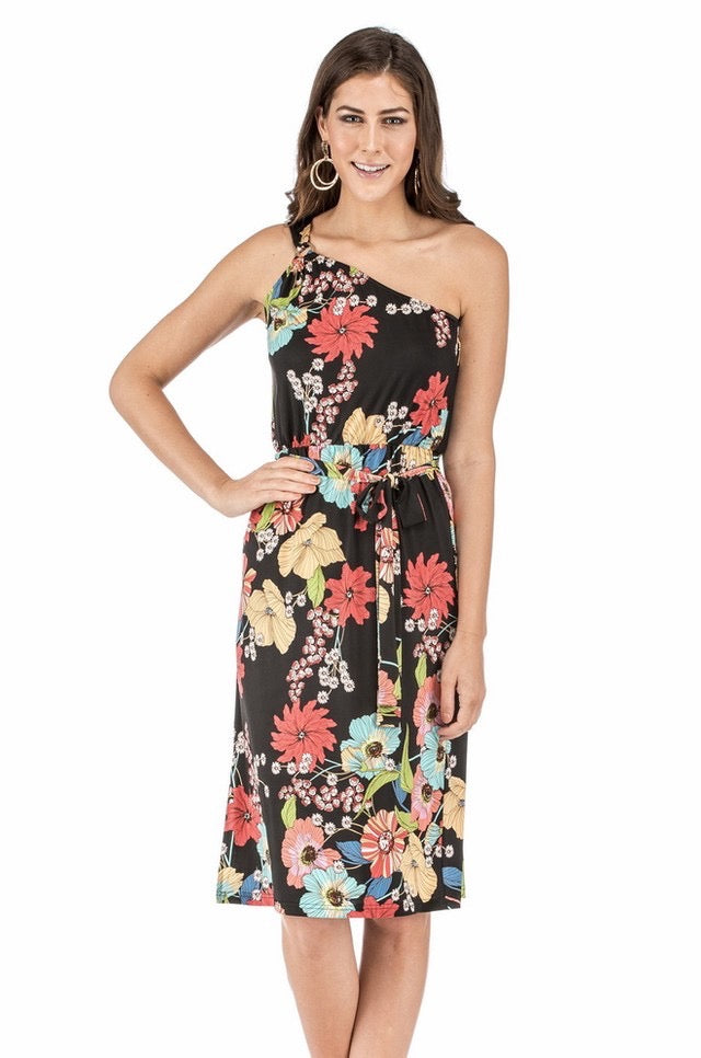 Black Floral One Shoulder Dress