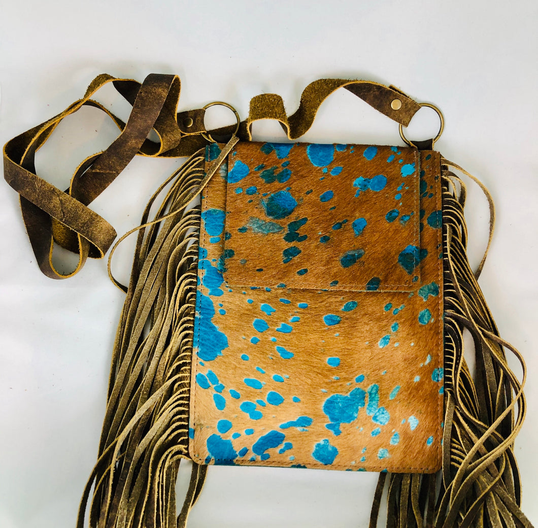 Turquoise Cowhide With Fringe Crossbody