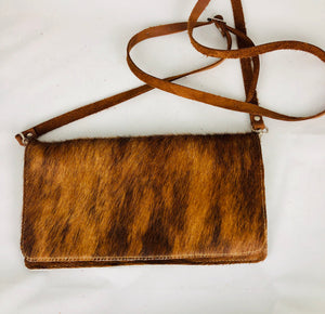 Brown Cowhide Rectangle Leather Crossbody