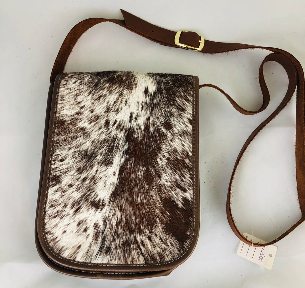 Brown Cowhide Leather Crossbody Pouch