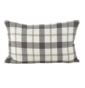 Grey Plaid Throw Pillow