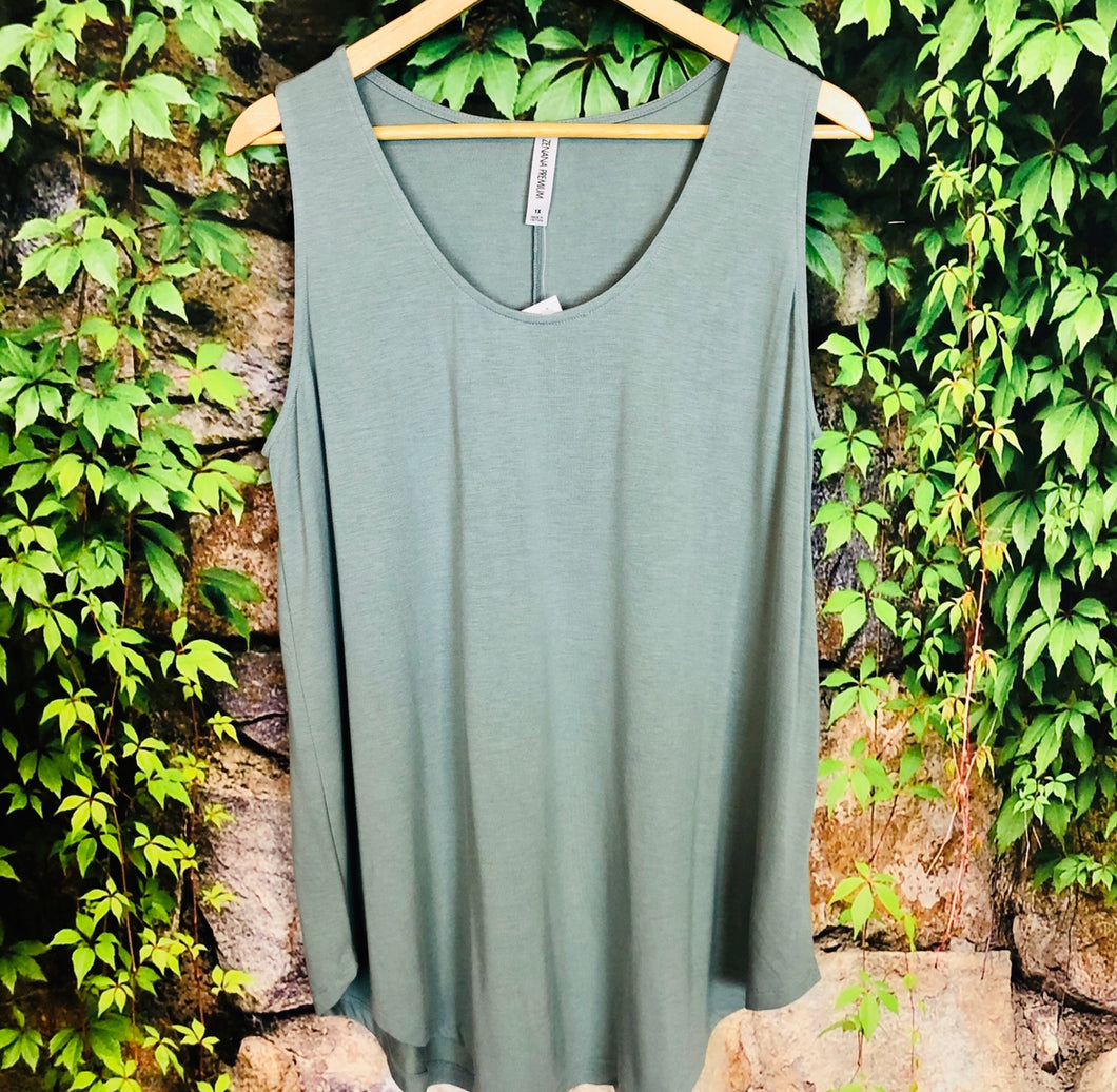 Plus Relxed Fit Tank Top-Lt Green