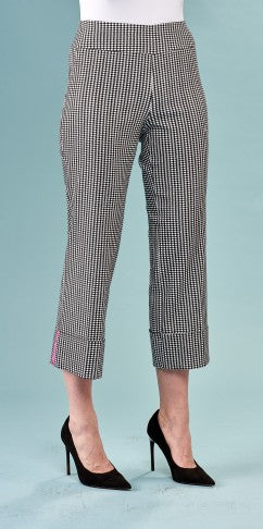 Black and White Gingham Crop Pants