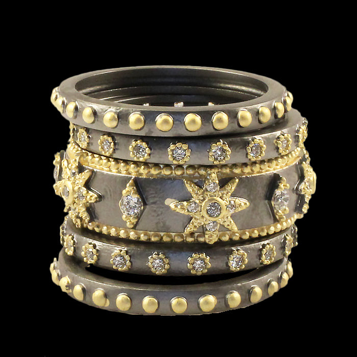 5pc Mixed Metal Stackable Ring Set