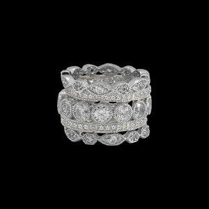 Silver 5 Band Stackable Ring Set