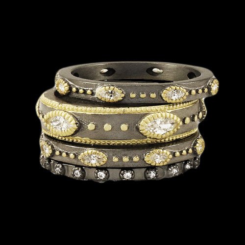 5pc Black and Gold Stackable Ring Set