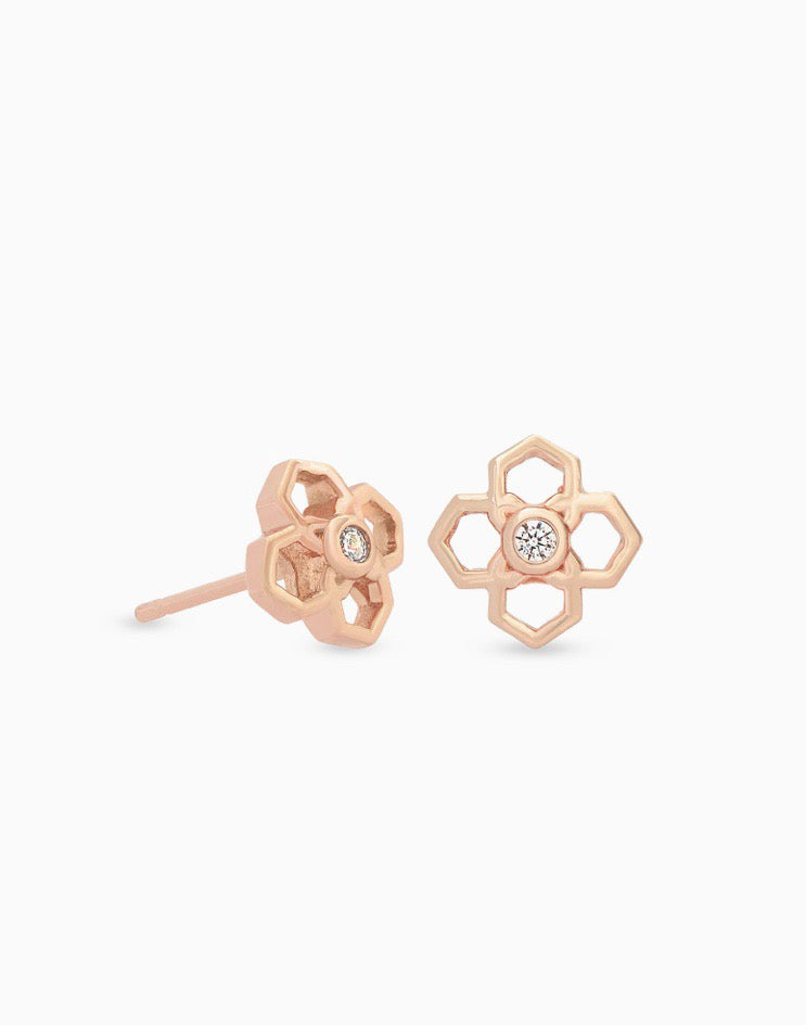 Rue Rose Gold Stud Earrings