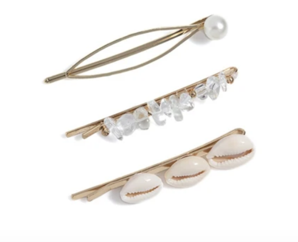 Assorted Three Piece Shell Hair Pins- Clear