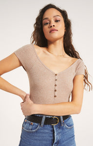 Bella Rib Bodysuit- Heather Latte