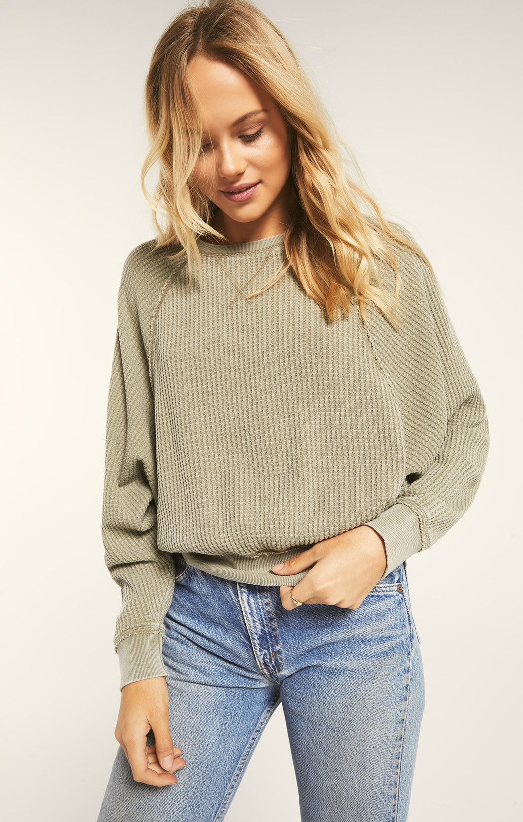 Claire Waffle Long Sleeve Top
