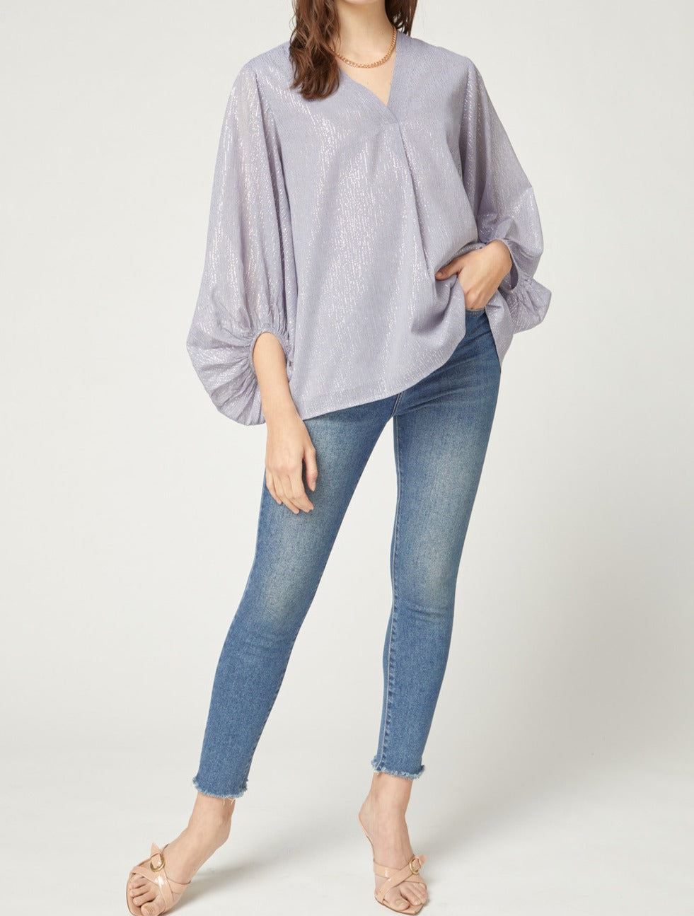 Misty Blue Bubble Sleeve Top With Gold Speckles