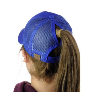 Royal Blue High Ponytail CC Ball Cap