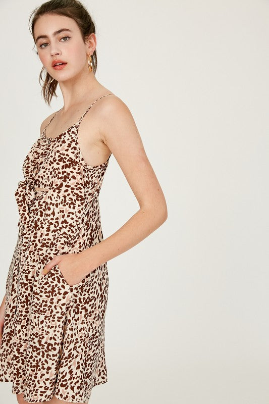 Animal Printed Button Down Front Cut Out Dress - Cream