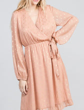 Load image into Gallery viewer, Peach Dress With Gold Metallic Diamond Print