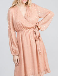 Peach Dress With Gold Metallic Diamond Print