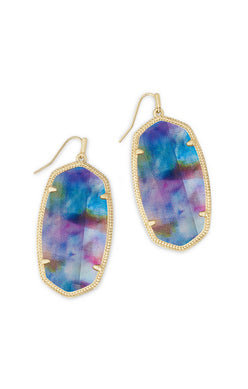 Danielle Earring - Gold Teal Tie Dye Illusion