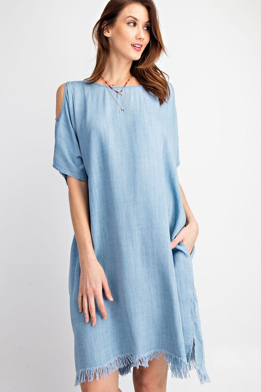 Cold Shoulder Frayed Denim Dress