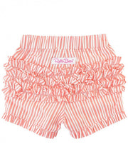 Load image into Gallery viewer, Coral Stripe Rufffle Shorts